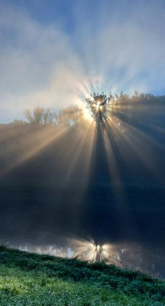 Východ Slunce u Moravy a Kunovského lesa