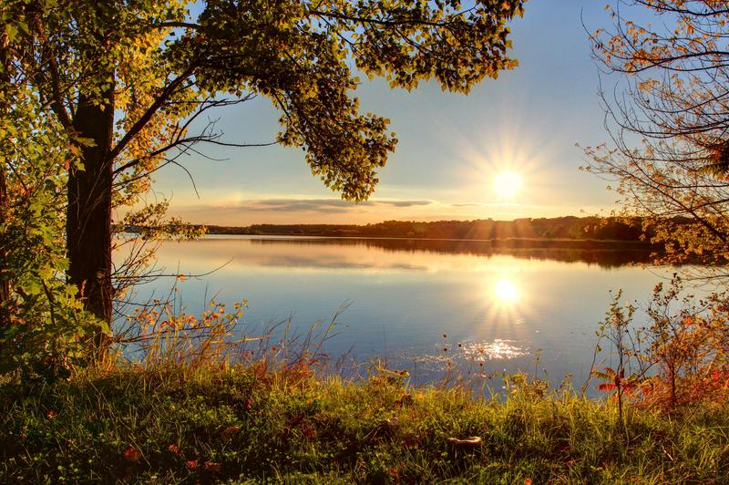 Novoveská štěrková jezera, západ slunce